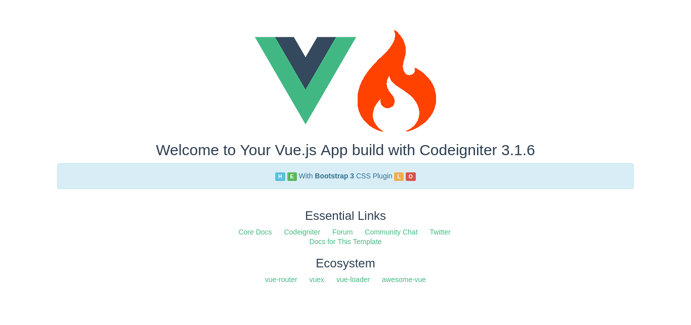 Codeigniter with Vue 2 Bootstrap Starter Template – Welcome